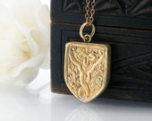 Gold Antique Locket | Victorian Shield Locket | Gothic Revival Engraved Rolled Gold Locket | Photo Locket Necklace - 24 Inch Chain Included