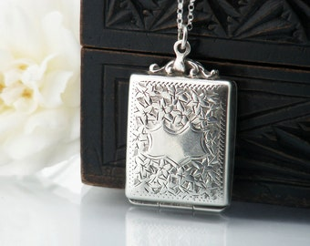 Antique Locket | 1911 Edwardian Stamp Case Locket | English Hallmarked Sterling Silver Locket and Chain - 20 Inch Sterling Chain