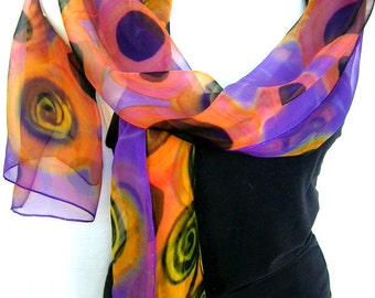 Multicolored Silk Scarf, Hand Painted Silk Scarf, Purple Black Yellow Orange, Abstract Geometrical Swirls And Circles, Gift For Her