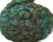 Hand dyed roving - BFL & tussah silk fiber - spinning felting fiber - 4.7 oz Mossy Woods - painted wool combed top