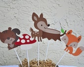 Woodland themed, birthday or baby shower Centerpieces set of 5