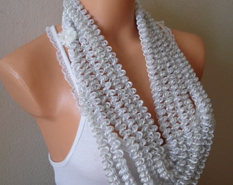 White Women Accessories Chunky Necklace Multi strands Scarf Necklace Festival Necklace