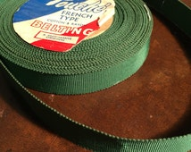 """1940's Moss Green Vintage Grosgrain Ribbon or Belting , Touche French Type Ribbon , 1/2"""" Wide Hat Ribbon , Couture Belting"""