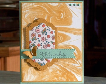 """Handmade Greeting Thank You Card - 4 1/4"""" x 5 1/2"""" - Stampin Up Cottage Greetings & Papillion Potpourri Butterfly"""