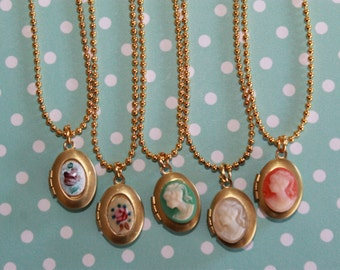 Girls Locket Necklace, Flower Girl Locket, Cameo Locket, Children Locket Necklace, Birthday Gift,