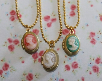 Girls Cameo Locket Necklace, Flower Girl Locket, Children Locket Necklace, Birthday Gift