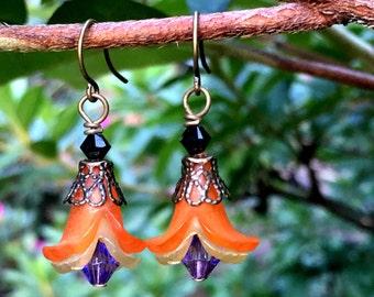Autumn Orange Earrings Halloween Garden by MinouBazaar
