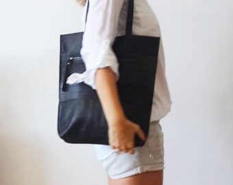 Black Leather tote bag - Shoulder Bag -Every day leather bag - Women bag