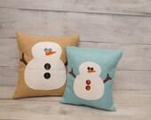 Snowman pillow, burlap pillow, Christmas Decor, Holiday Decoration, Gifts for Teachers, Snowman Decoration, accent pilow, winter decor