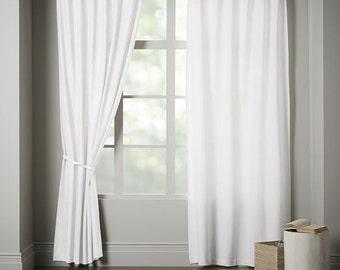 White cotton curtain | Etsy