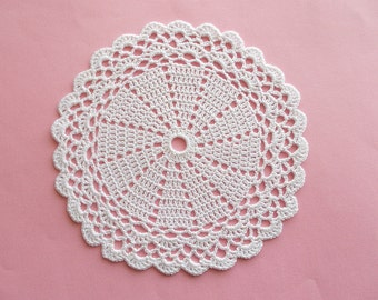 Crochet Doily White Cotton Lace with Scaloped Edge Heirloom Quality