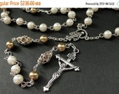 VALENTINE SALE Crystal and Pearl Rosary in Champagne Gold and White. Crystal Rosary. Handmade Rosary. Catholic Rosary. White Rosary. Handmad