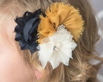 Mustard chiffon, navy Shabby Flower, Cream Tulle Flower on Clip baby toddler child teen women wedding flower girl pictures girl hair clip