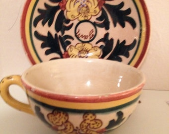 Vintage from the 30's Handpainted cup & saucer/SPAIN
