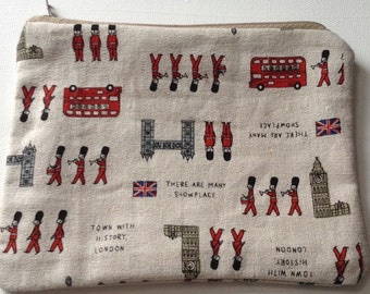 Handmade Kokka Japanese Fabric purse/pouch London/ london bus