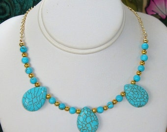 Turquoise Magnesite Howlite Gold Beaded Chain Dainty Everyday Necklace
