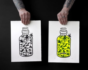 Nightmare in a bottle screenprint