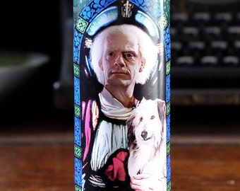 Saint Doc Brown Prayer Candle / Back to the Future