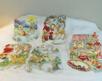 Vintage Christmas Decorations Die Cut Paper Pictures Santa Elves Reindeer 1940s