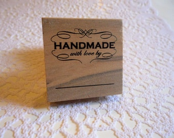 Handmade with love by... | Rubber Stamp | Ready to ship!