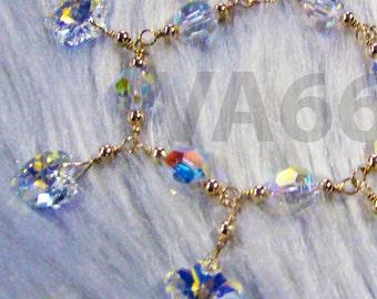 Heart Flower 14K Gold Filled Swarovski Crystal Charm Bracelet Wire Wrapped 925 silver Wedding Bridal Custom Made Adult, Toddler, Children