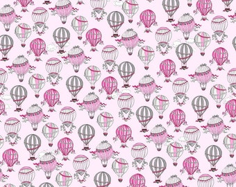 C'est La Vie by Ink and Arrow Fabric Paris Hot Air Balloons Balloon Ride Fly Away Above the Clouds on Pink