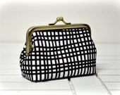 Coin Purse -  Black Stripes