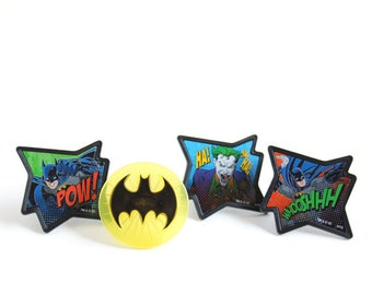Batman Cupcake Toppers, Batman Cupcake Rings, Superhero Birthday Party