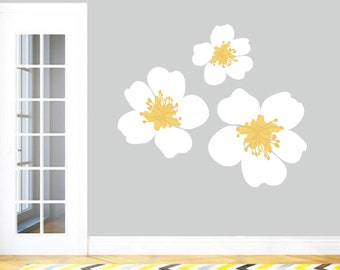 Yellow Wall Decal Etsy - Yellow flower wall decals