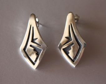 Hopi Silver Earrings Vern Mansfield