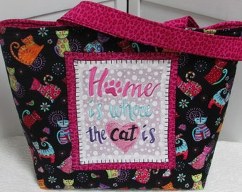 Hot Pink and Black Cool Cat large Tote Bag Home Is Where The Cat Is Purse Chalkboard Saying Bag Colorful cat Shoulder Bag Ready To Ship