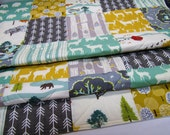 Modern Baby Quilt-Rustic Woodland Crib Bedding-Deer-Elk-Feather River-Charcoal Gray-Grey-Mint-Mustard-Bear Baby Blaneket