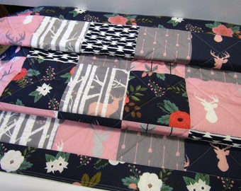 Baby Girl Quilt-Woodland Rustic Crib Bedding-Navy Blue-Pink-Charcoal Gray Grey-Antler-Buck-Birch Trees-Arrows Baby Blanket