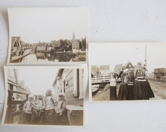Found Photographs, Volendam, Netherlands, Children In Native Dress, Quaint Houses, Black and White Photography, Circa 1934