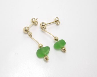 Gold Filled Sea Glass Earrings, Green Earrings, Gold Filled Earrings, Small Earrings, Summer Earrings