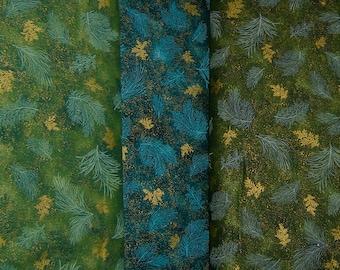Robert Kaufman Holiday Flourish blenders 2014-Hunter, Pine, Evergreen, APTM #14559