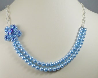 Woven Necklace Double Strand Pearls Light Sapphire Blue with Flower Focal