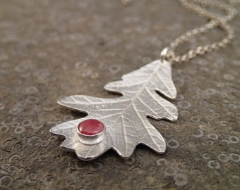 Silver Oak Leaf with Rhodocrosite Cabochon pendant necklace