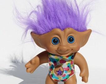 Vtg 90's 11 Inch Purple Hair Treasure Troll w/ Wishstone Jewel Belly Ace Novelty
