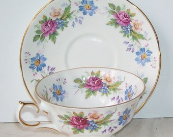 Springfield Bone China Floral Teacup and Saucer, Made in England, Gold Trimmed Teapot English Vintage Teacup Set, English Cottage,