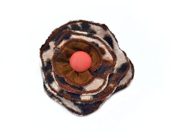 Lapel Pin, scarf pin, hat pin, fabric flower pin, animal print flower brooch, fiber art corsage, OOAK
