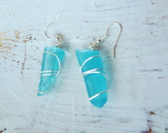 Sea Glass Earrings in the Chunkier Style Looks like Frozen Icicles