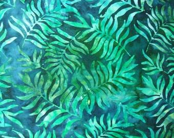 Totally Tropical Green Palm Leaves Leaf Batik Robert Kaufman Fabric Yard