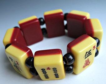 Vintage Mahjong Bracelet Cherry Bakelite