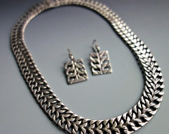 Vintage GUAD MEX Sterling Link Chain Collar Necklace Earrings