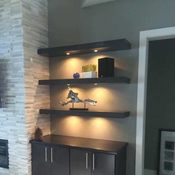 48 60 72 espresso floating shelf with led. Black Bedroom Furniture Sets. Home Design Ideas
