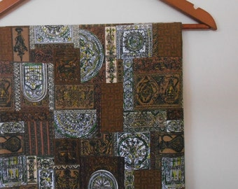 mid century cotton yardage in browns and green