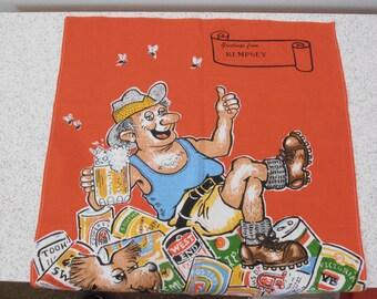 Aussie beer drinker...vintage souvenir linen tea towel