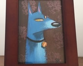 Blue Dog   3x5 Framed Acrylic Painting   Man's Best Friend, For Dog Lover's   Flimflammery