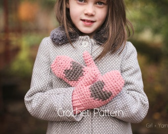 Crochet Pattern Heart Mittens Instant Download Child, Adult Sizes Included